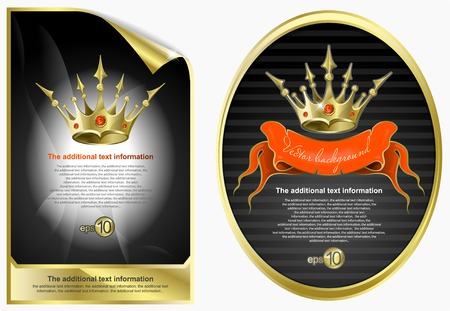Background in ancient style with a gold crown Vector