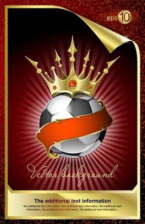 Football with a gold crown and a red tape  Vettoriali