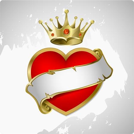 corona real: Coraz�n rojo con una corona de oro Vectores