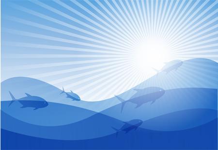undersea: arri�re-plan de design sur le th�me de la mer et les poissons.