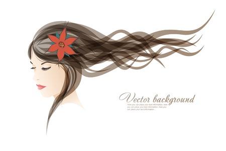 The girl with colors in hair Illusztráció