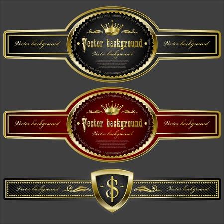 emblem red: Golden royal design element  Illustration