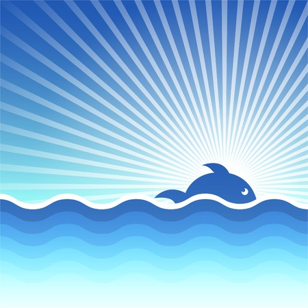 background for design on a theme of the sea and fishes. Vector