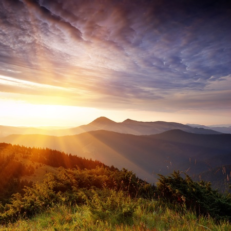 Summer landscape in mountains with the sun Stock Photo - 9824399