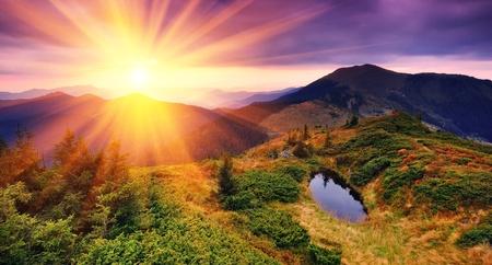 sunrise mountain: Dawn in mountains Carpathians, Ukraine. Autumn morning