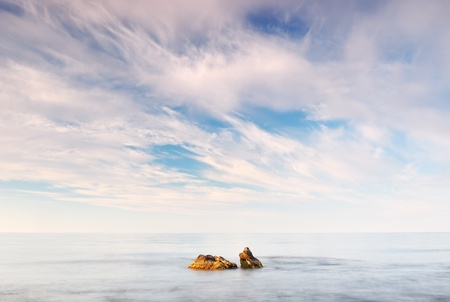 dyllic: Landscape with the sea and a stone. Ukraine, Crimea, Black sea.