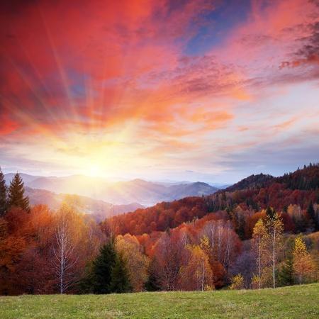 sunsets: Autumn landscape in mountains. Ukraine, Carpathians