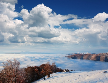 Landscape in the mountains. Early snow had fallen in October. Carpathian mountains, Ukraine. photo