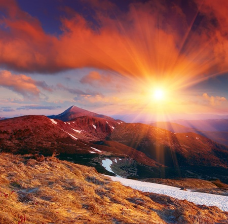 Morning in mountains. In a photo the highest mountain of the Ukrainian Carpathians - Goverla of 2061 metre is represented. photo