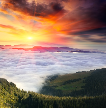 Landscape in the mountains with a cloudy sky colors the sunset. Ukraine, the Carpathian mountains