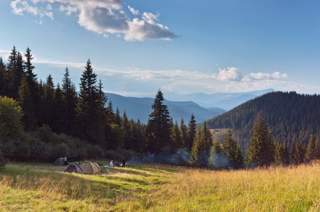 Summer landscape in the mountains camping and tourists. Ukraine, the Carpathian mountains.