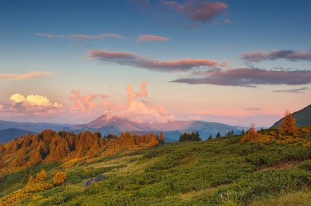 carpathian mountains: Landscape in the mountains with a cloudy sky colors the sunset. Ukraine, the Carpathian mountains