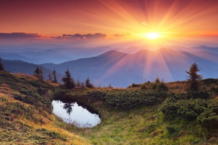 pino: Paisaje de las montañas con la puesta del sol. Ucrania, los Cárpatos Foto de archivo