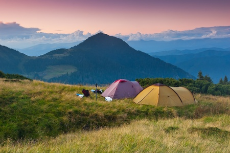 Landscape in the mountains camping. Ukraine, the Carpathian mountains photo