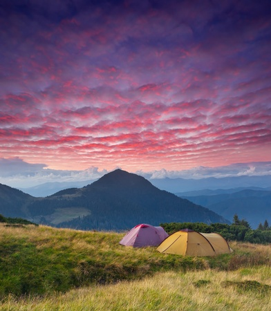 Landscape in the mountains camping. Ukraine, the Carpathian mountains