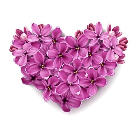Flores de un color lila en forma de un corazón. Una ilustración de un tema del día de San Valentín.