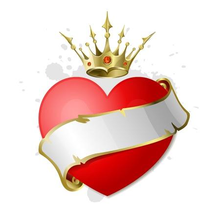 corona real: Corazón rojo con cinta blanca y una corona de oro. Ilustración en el Día de San Valentín.