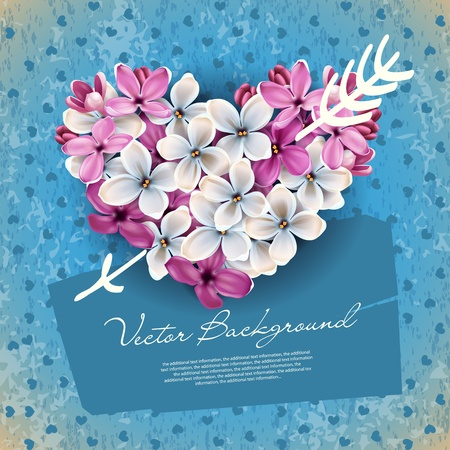Heart of flowers of lilac and arrow Cupid. An illustration on a theme of Valentine's day