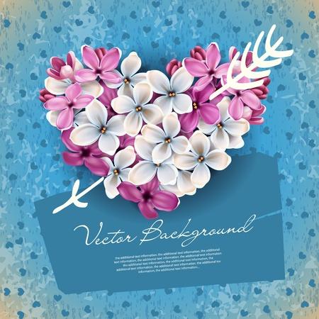 Srdce z květů šeříku a šíp Cupid. Ilustrace na téma den svatého Valentýna