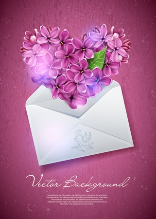 Heart of lilac flowers in an envelope. An illustration on a theme of Valentine's day Vettoriali