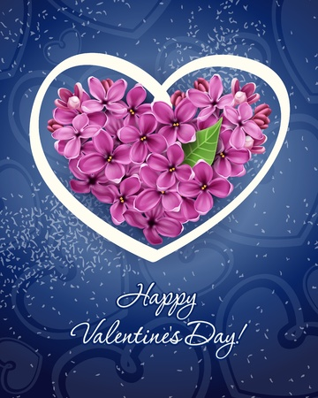 Heart of flowers of lilac. Illustration on a theme of Valentine Stock Vector - 12209511
