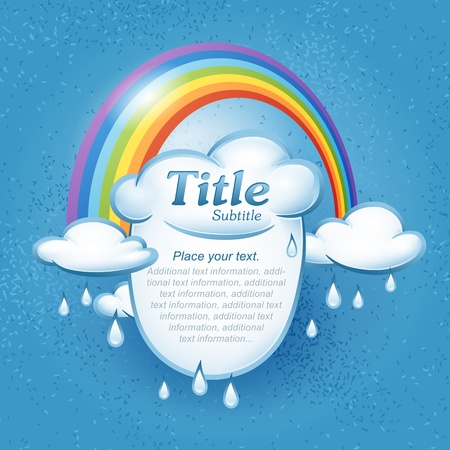 Background for design on the theme of weather with clouds and rainbow