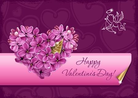 Cuore di fiori lilla. Illustrazione su un tema di San Valentino Archivio Fotografico - 12209524