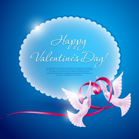 Two doves and a ribbon in the form of a heart. Background on Valentine Vector