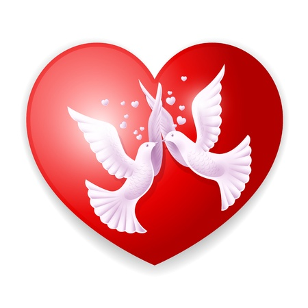 Two lovers dove. Background on Valentine Vector