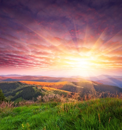 Landscape in the mountains with sunset. Ukraine, the Carpathian mountains photo