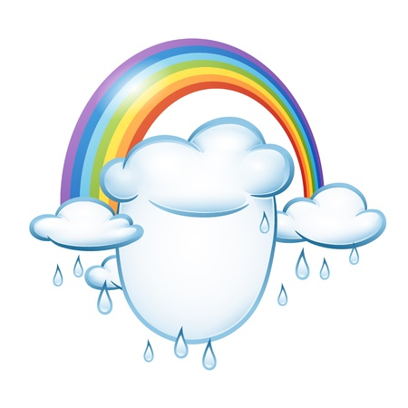 Background for design on the theme of weather with clouds and rainbow Vector