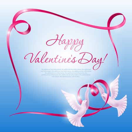 Two doves and a ribbon in the form of a heart. Background on Valentines Day Vector