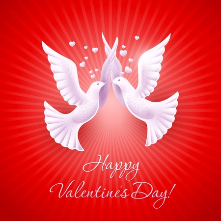 Two lovers dove. Background on Valentine's Day Vector