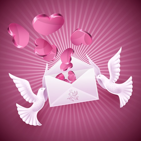 Pigeons love holding the envelope with the message. Background on Valentines Day Vector