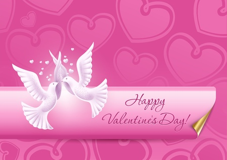Two lovers dove. Background on Valentines Day Vector