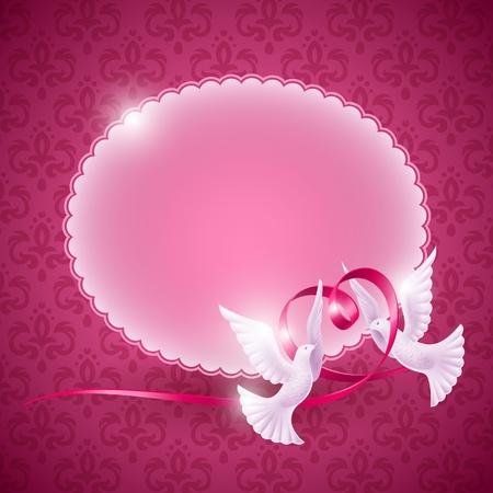 Vecteur de fond pour la conception sur le thème de l'amour. Pigeons avec un ruban en forme de coeur Illustration