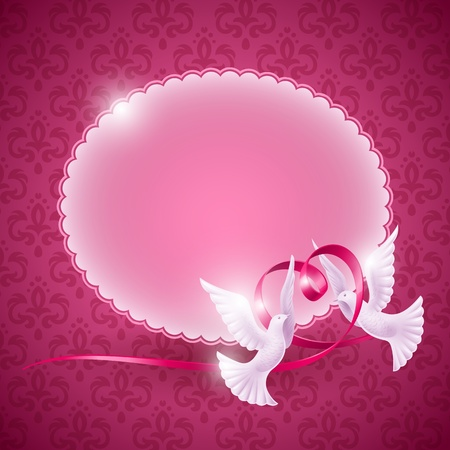 Vector background for design on the theme of love. Pigeons with a ribbon in the form of heart Иллюстрация