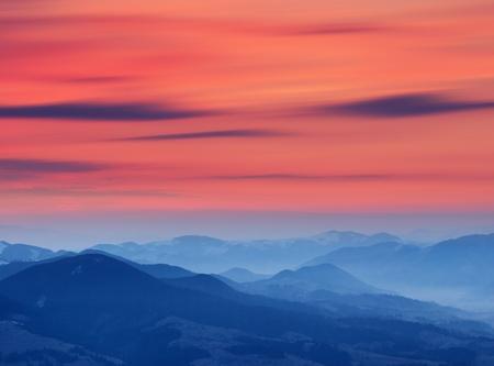 carpathian mountains: Sunrise in the mountains. Ukraine, the Carpathians