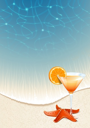Vector background for design on a summer vacation  A cocktail with a slice of orange on the beach sand by the sea
