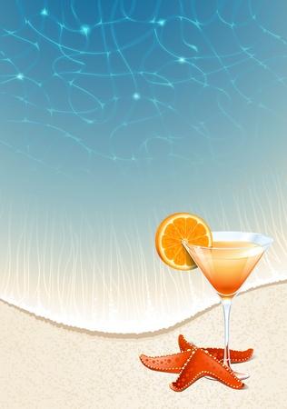 fiesta en la playa: Vector de fondo para el dise�o de unas vacaciones de verano de un c�ctel con una rodaja de naranja sobre la arena de la playa por el mar
