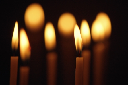 Discounted wax candles in the church  Background for design