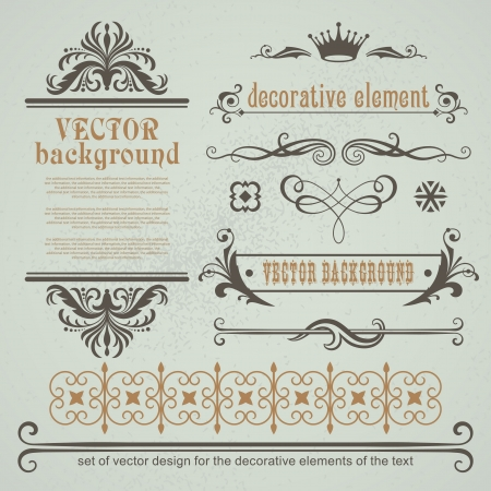 Vector set decorative elements for page layout Illustration