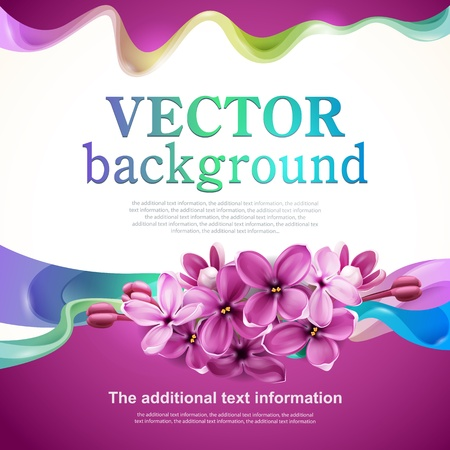 Vector background for design with flowers of lilac and abstraction