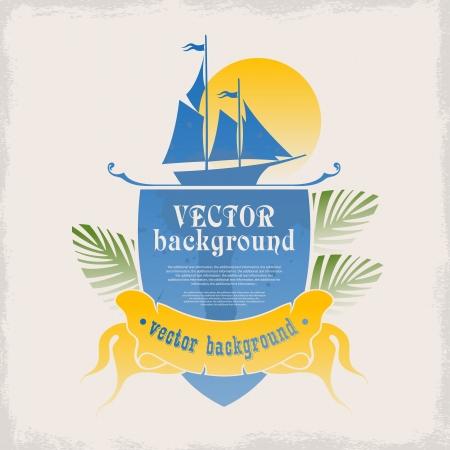 dieren: Het logo voor het ontwerp met ruimte voor tekst op de zee en de zomervakantie op zee