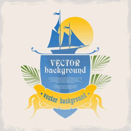 The logo for the design with space for text on the sea and the summer holidays at sea Vector