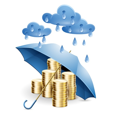 Money under the umbrella  illustration on the theme of financial guarantee