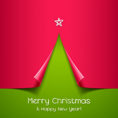 Christmas tree made of paper   background for design Illustration