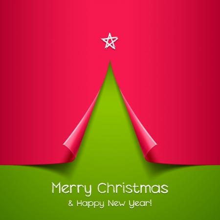 estrellas de navidad: Árbol de navidad hecho de papel de antecedentes para el diseño