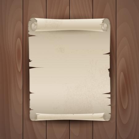 Vector background con il manoscritto su una tavola di legno