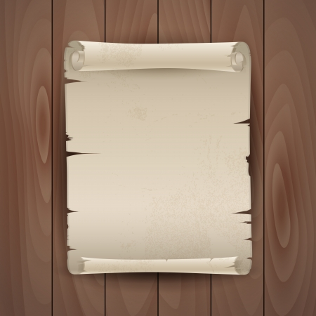 Vector background with the manuscript on a wooden board